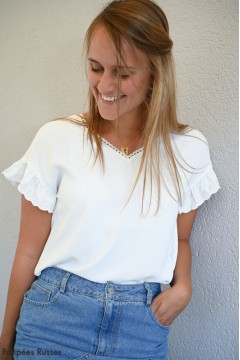 Blouse blanche à broderie