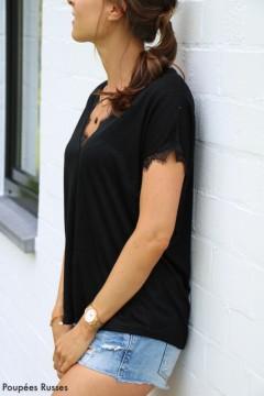 T-shirt noir dentelle