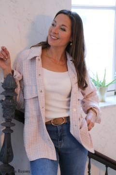 Veste Tweed rose pâle