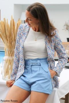 Blazer bleu fleuri