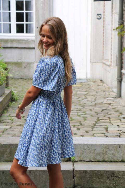 Robe Fanny bleue imprimée