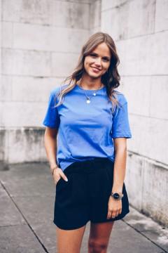 T-shirt bleu roi col rond